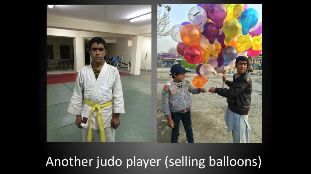 Another judo player (selling balloons)
